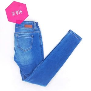 3/15 Wax Jeans Button Fly Skinny Dark Wash Jeans